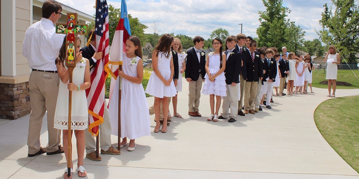 Students in line at St. Nicholas School graduation