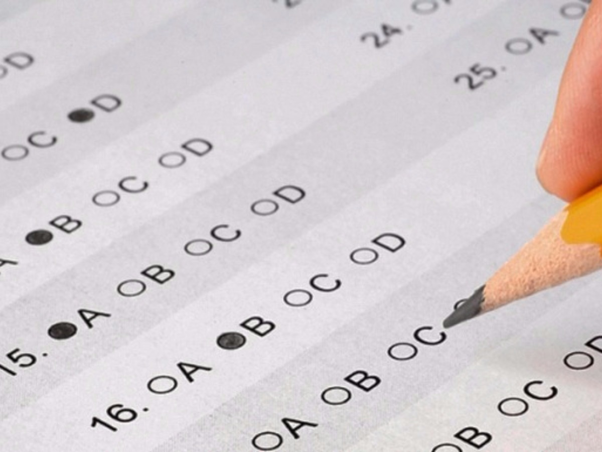 Standardized test form with fill in circles and pencil